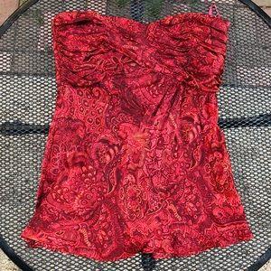 Garnet red Silk Paisley BANANA REPUBLIC blouse 4